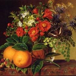 Пазл онлайн: Натюрморт с апельсинами и бабочкой