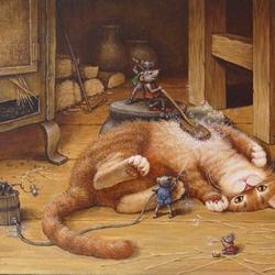 Пазл онлайн: Купание красного кота
