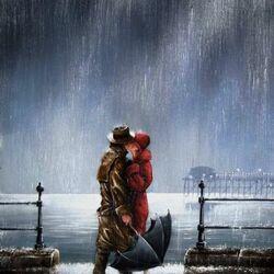 Пазл онлайн: Свидание под дождем