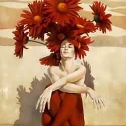 Пазл онлайн: Красные цветы