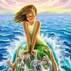 Пазл онлайн:  Девочка и море