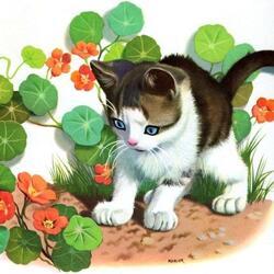 Пазл онлайн: Котенок и цветы
