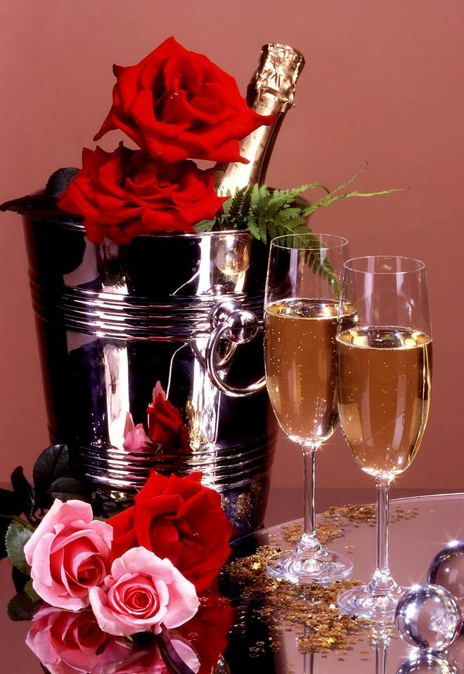 Картинки цветы и шампанское с днем рождения