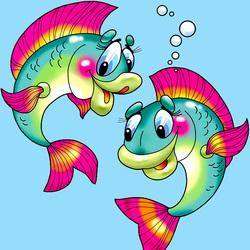 Пазл онлайн: Веселые рыбки