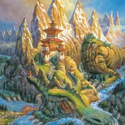 Пазл онлайн: Дракон-гора