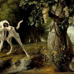 Пазл онлайн: Пейзаж с собакой и куропатками