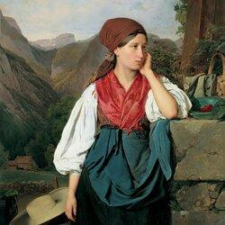 Пазл онлайн: Собирательница ягод на фоне горного пейзажа