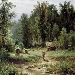 Пазл онлайн: Пасека в лесу
