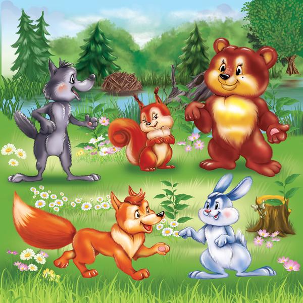 картинки зверюшки в лесу широкий