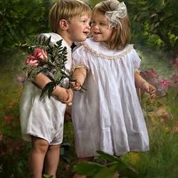 Пазл онлайн: Мальчик и девочка