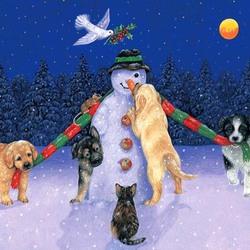 Пазл онлайн: Наряжаем снеговика