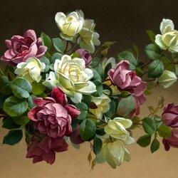 Пазл онлайн: Белые и красные розы