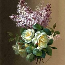 Пазл онлайн: Букет из роз и сирени