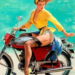 Пазл онлайн: Девушка на мотоцикле