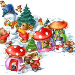 Пазл онлайн: Снеговики - снежные гости