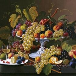 Пазл онлайн: Натюрморт с вином и фруктами на столе