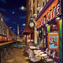 Пазл онлайн: Ночная улица Парижа