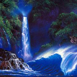 Пазл онлайн: Синий водопад