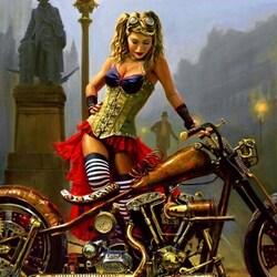 Пазл онлайн: Красотка и мотоцикл