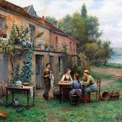 Пазл онлайн: Чаепитие во дворе