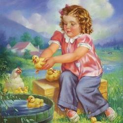 Пазл онлайн: Цыплята и утята