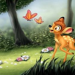 Пазл онлайн: Бэмби и бабочки