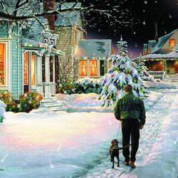 Пазл онлайн: Вечерняя прогулка накануне Рождества