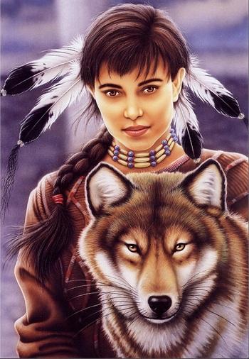 Пазл Индейская девушка и волк