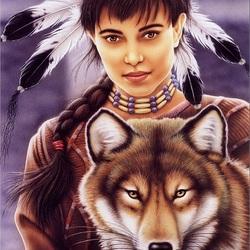 Пазл онлайн: Индейская девушка и волк