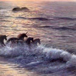 Пазл онлайн: В лучах заката по морской волне