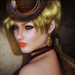 Пазл онлайн: Девушка в шляпке