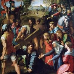 Пазл онлайн: Падение Христа на пути к Голгофе