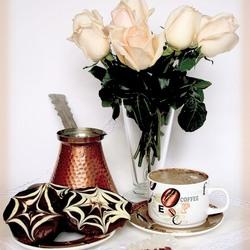 Пазл онлайн: Кофейные розы