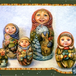 Пазл онлайн: Матрешкино семейство