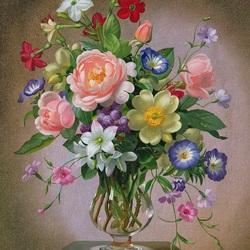 Пазл онлайн: Розы, пионы и фрезии в стеклянной вазе