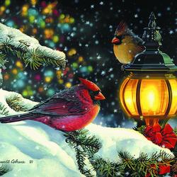 Пазл онлайн: Рождественские кардиналы