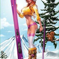 Пазл онлайн: Лыжница