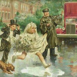 Пазл онлайн: Дождь свадьбе не помеха