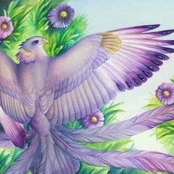 Пазл онлайн: Птица и астра