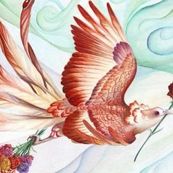 Пазл онлайн: Птица и гвоздика