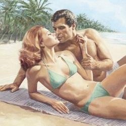Пазл онлайн: Поцелуй на пляже