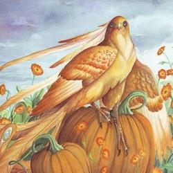 Пазл онлайн: Птица и календула