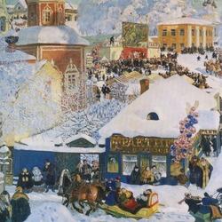 Пазл онлайн: Зима, масленичное гулянье
