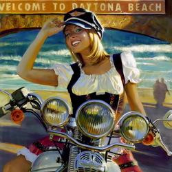 Пазл онлайн: Красотка на мотоцикле