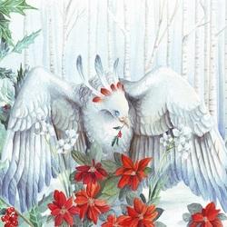 Пазл онлайн: Птица и пуансетия