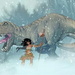 Пазл онлайн: Охотница и динозавр
