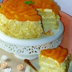 Пазл онлайн: Торт «Мандарины в бисквите»