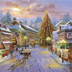 Пазл онлайн: Рождественским вечером