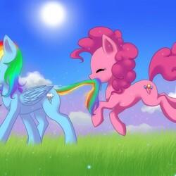 Пазл онлайн: Радужный и Розовый пони