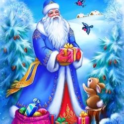Пазл онлайн: Дедушка Мороз подарки принес